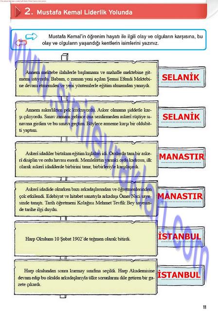 8. Sınıf İnkılap Tarihi Top Yayınları Çalışma Kitabı Cevapları Sayfa 11