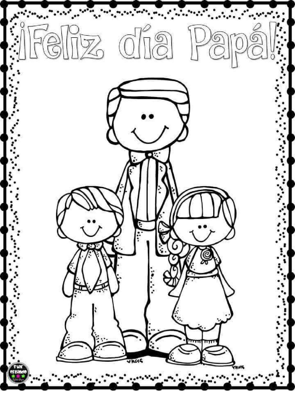 Encantador Dia De Los Padres Para Colorear Tarjetas Molde ...