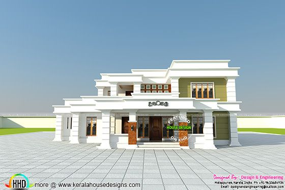 355 sq-yd decorative flat roof home