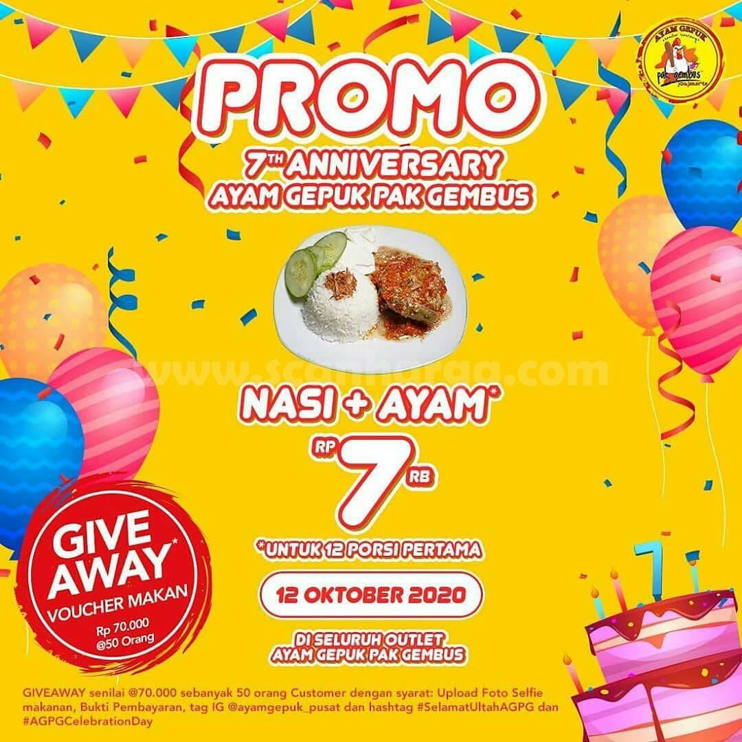 Promo Ayam Gepuk Pak Gembus 7th Anniversary - Dapatkan Nasi + Ayam Cuma Rp 7RB