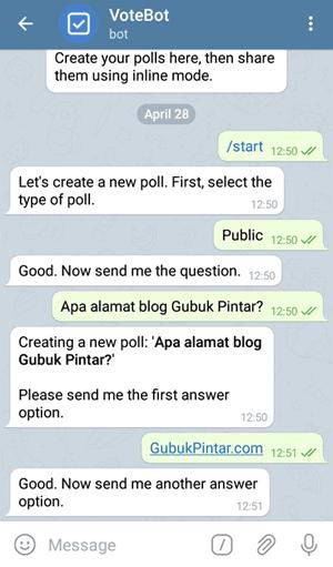 jawaban bot vote telegram