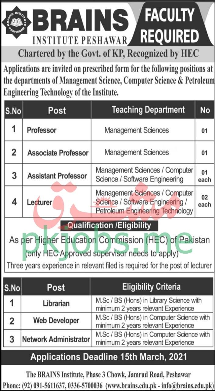 Latest Brains Institute Peshawar Education Posts 2021