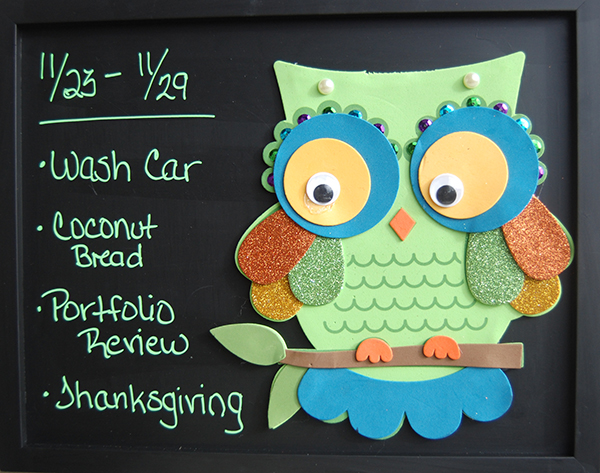 Front image of the owl chalk board DIY project