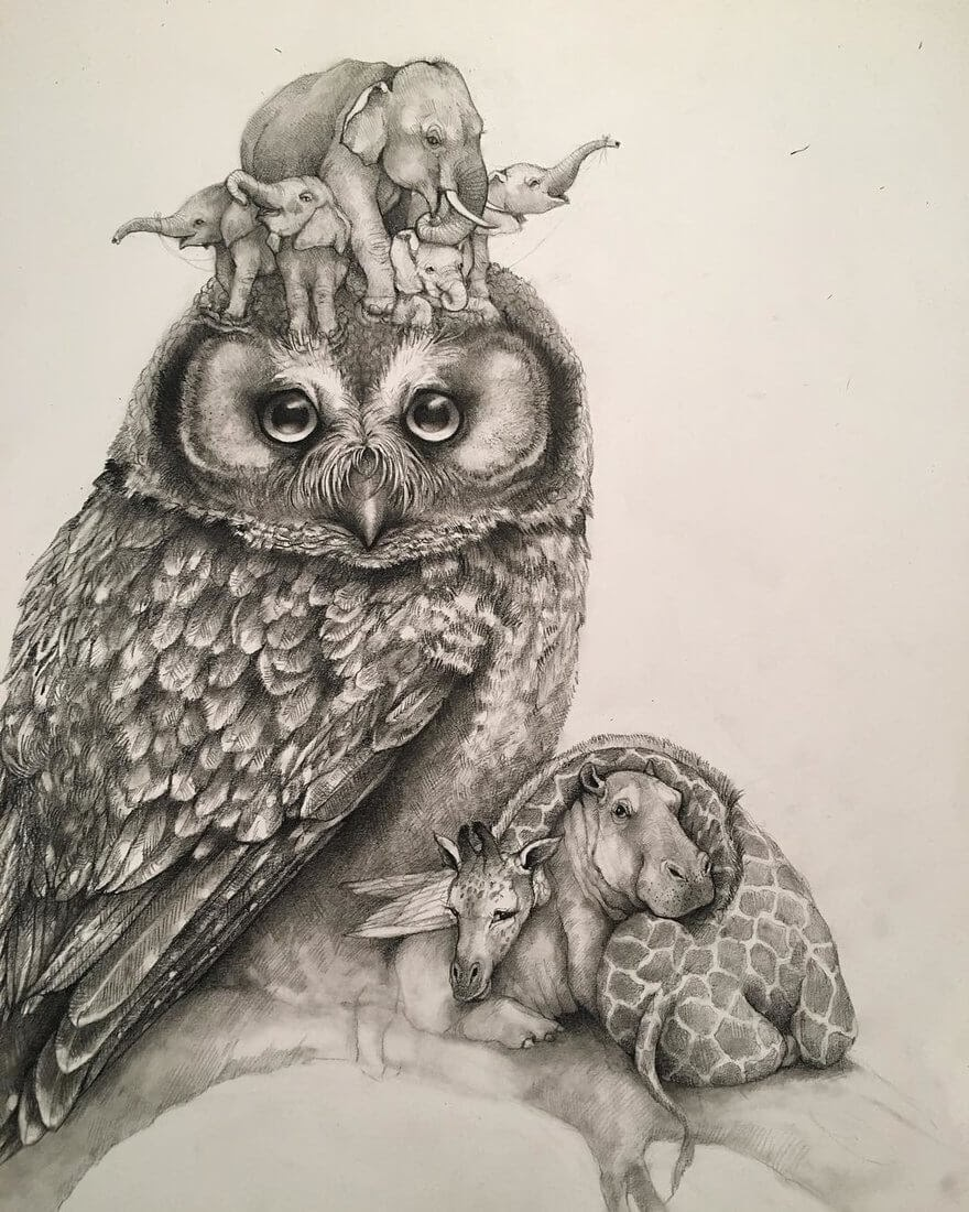 06-Small-and-Very-Large-Surreal-Animal-Drawings-www-designstack-co