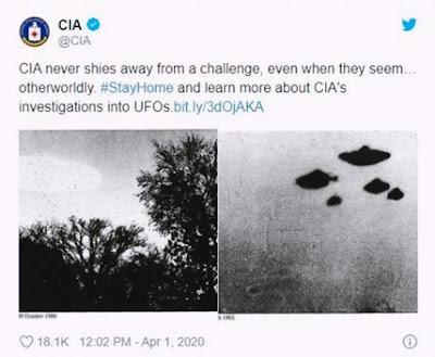 Tweet oficial da CIA falando sobre os arquivos confidenciais sobre ovnis que foram liberados