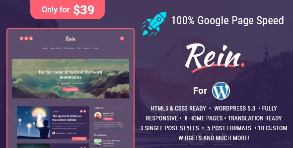 Rein - Minimal Lightweight Dark Theme Wordpress Free Download, Nulled