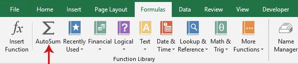طريقة الجمع في Excel