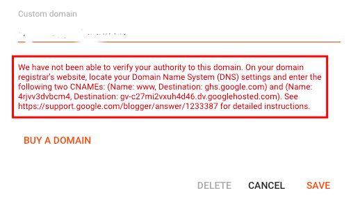 cname custom domain blog