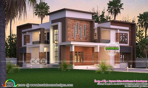4 bedroom box model contemporary house with show walls