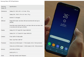 Samsung Galaxy S8 Specifications with Guide and Review