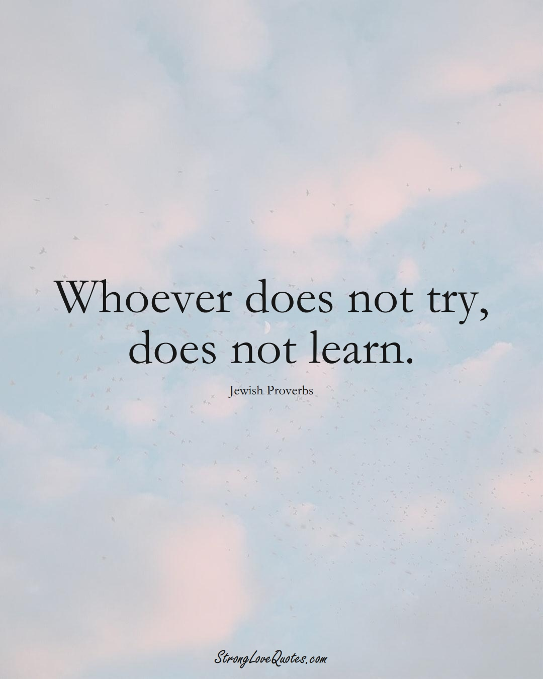 Whoever does not try, does not learn. (Jewish Sayings);  #aVarietyofCulturesSayings