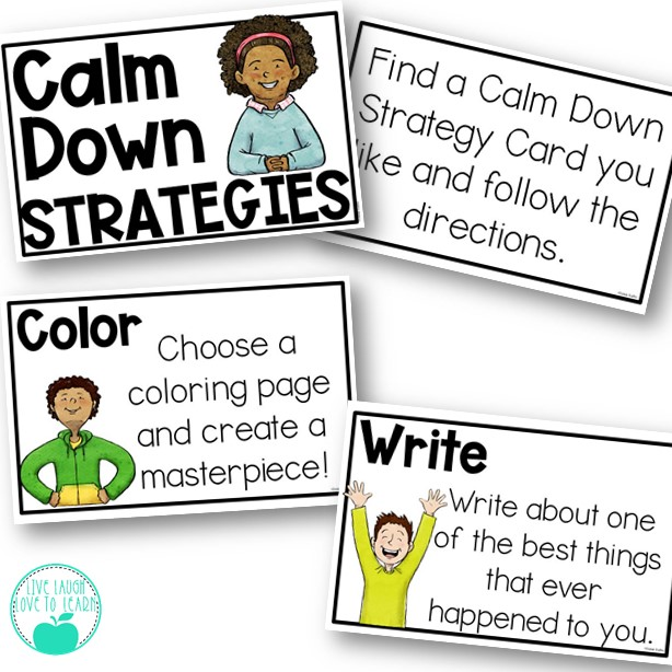 Image of cards with calming strategies for children