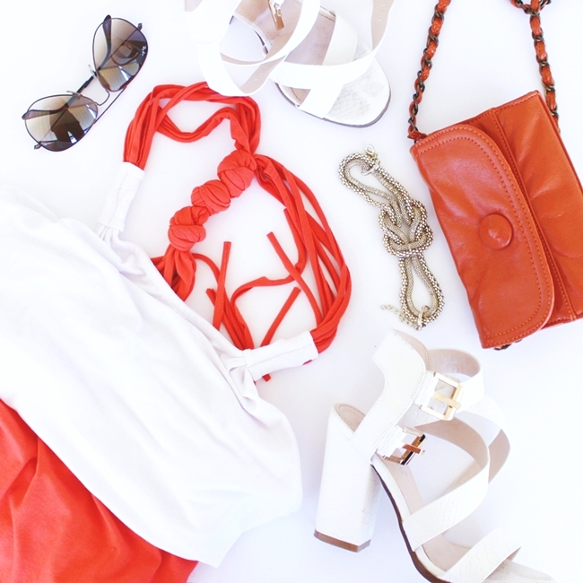 Orange and white outfit fashion flatlay