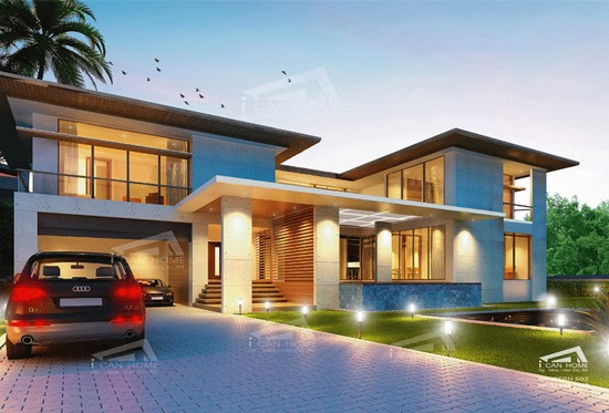 4 bedrooms 5 bathrooms width meter depth meter this house was designed for suitable construction in thailand featured modern style plans - Modern Tropical House Design