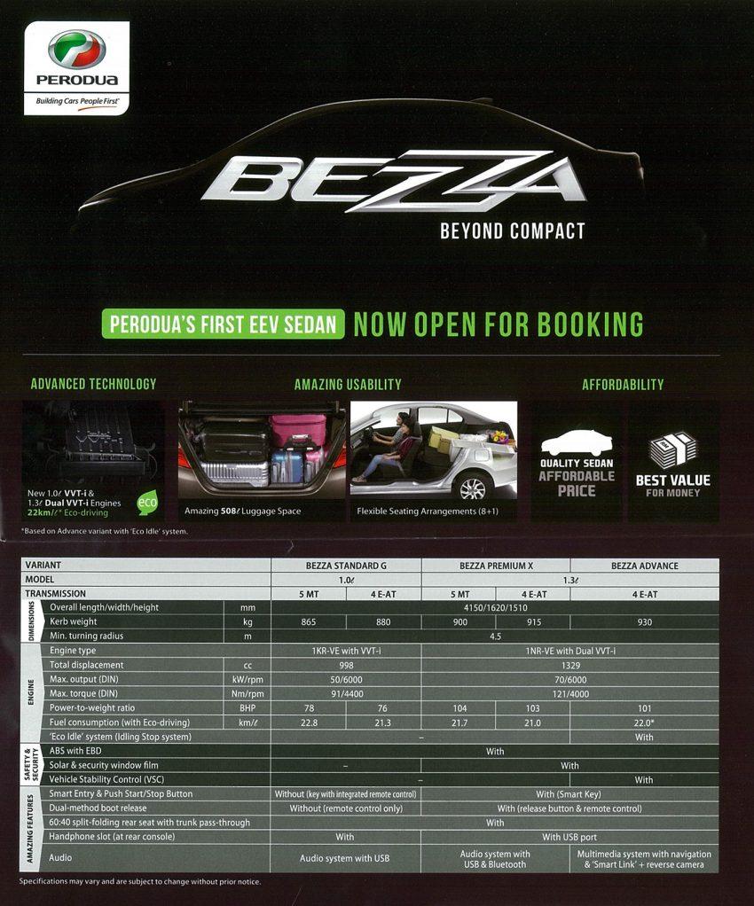 Spesifikasi Perodua Bezza 1.0 dan 1.3