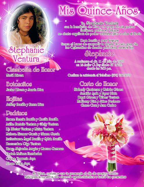Tarjeta de Invitación de 15 Años Novedosa Personalizada con Fotografía morado y fucsia con rosas, cartuchos y lirios