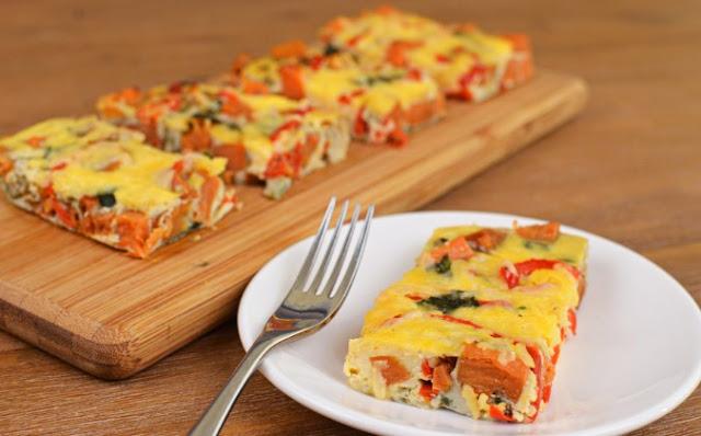 Sweet Potato Frittata Slices #dinner #breakfast