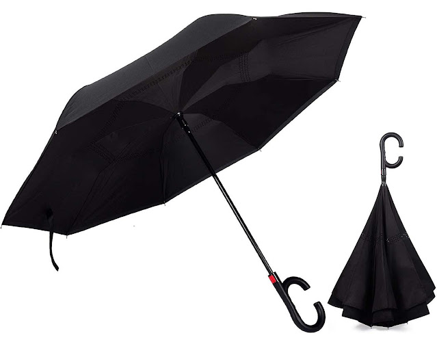 SHOPPOSTREET Umbrella (Auto Open Function) Windproof Upside Down Reverse Umbrella with C-Shaped Handle, Uv Protection, Umbrella for Car and Outdoor Use, Hands Free Handle Umbrella