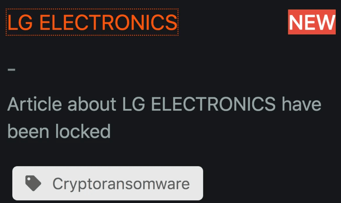 LG Electronics Hacked – Maze Ransomware Operators Claim That They Have Breached LG Network