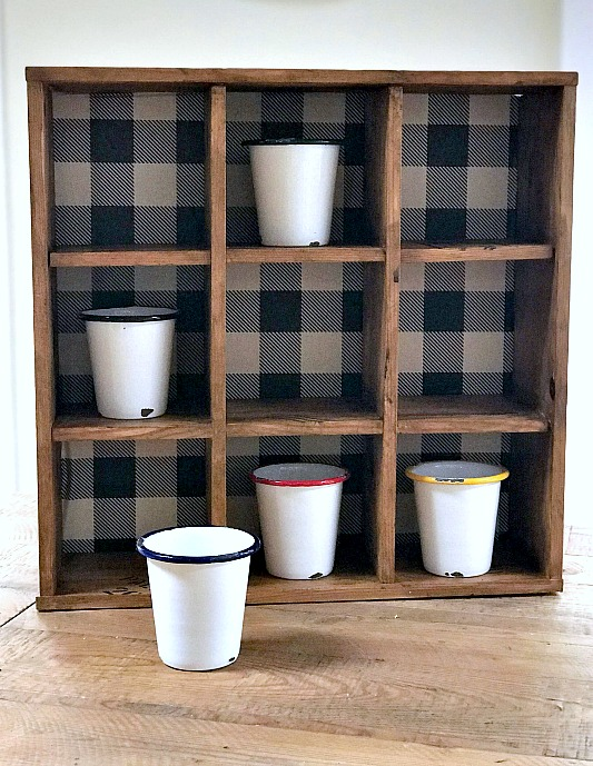 Stenciled Cubbies for Enamelware