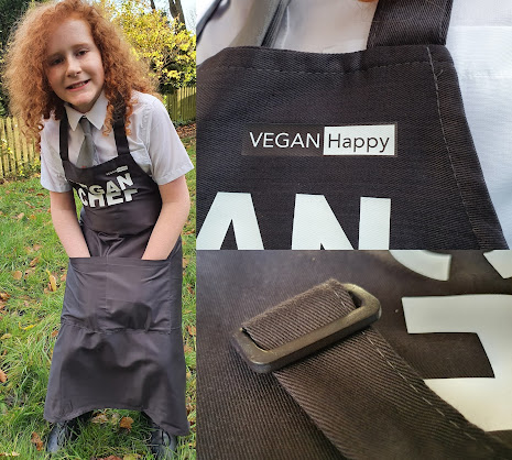 collage with Happy boy wearing Vegan Chef apron, and buckle and logo close up