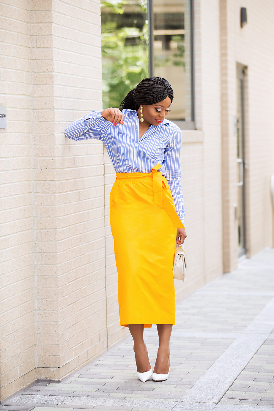 Summer work style, jcrew tie-waist skirt, www.jadore-fashion.com