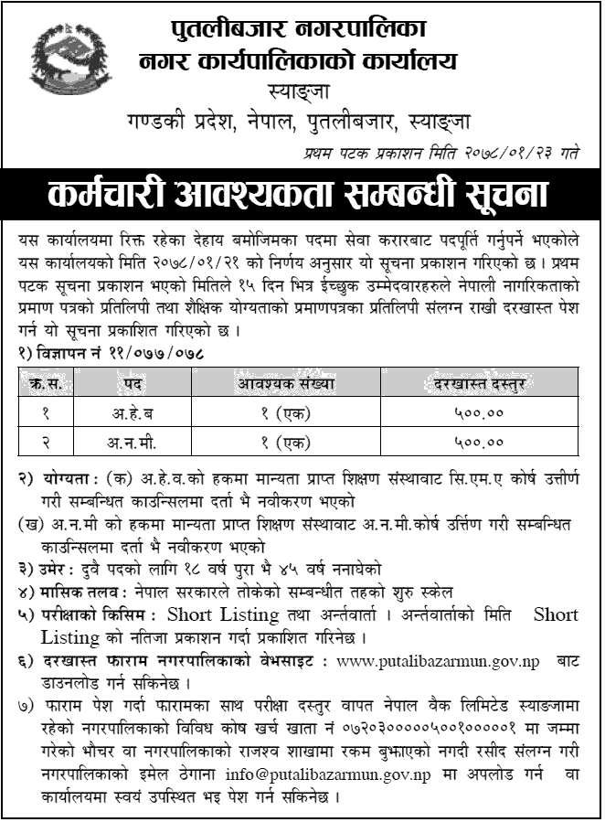 Putalibazar Municipality, Syangja Job Vacancy for ANM and AHW