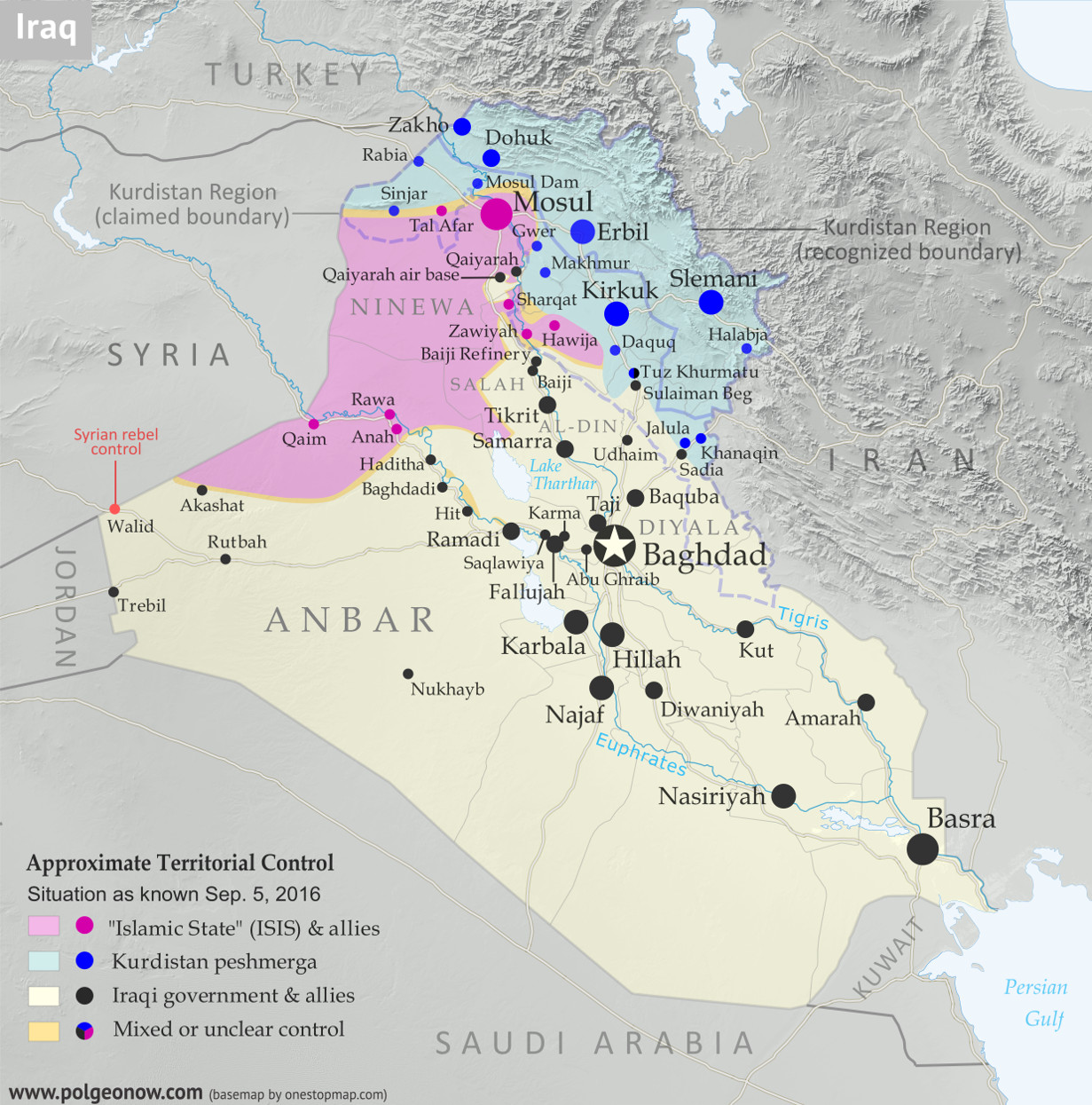 Detailed map of territorial control in Iraq as of September 5, 2016, including territory held by the so-called Islamic State (ISIS, ISIL), the Baghdad government, and the Kurdistan Peshmerga. Includes results of recent fighting around Qaiyarah (Qayyarah) south of Mosul. Color blind accessible.