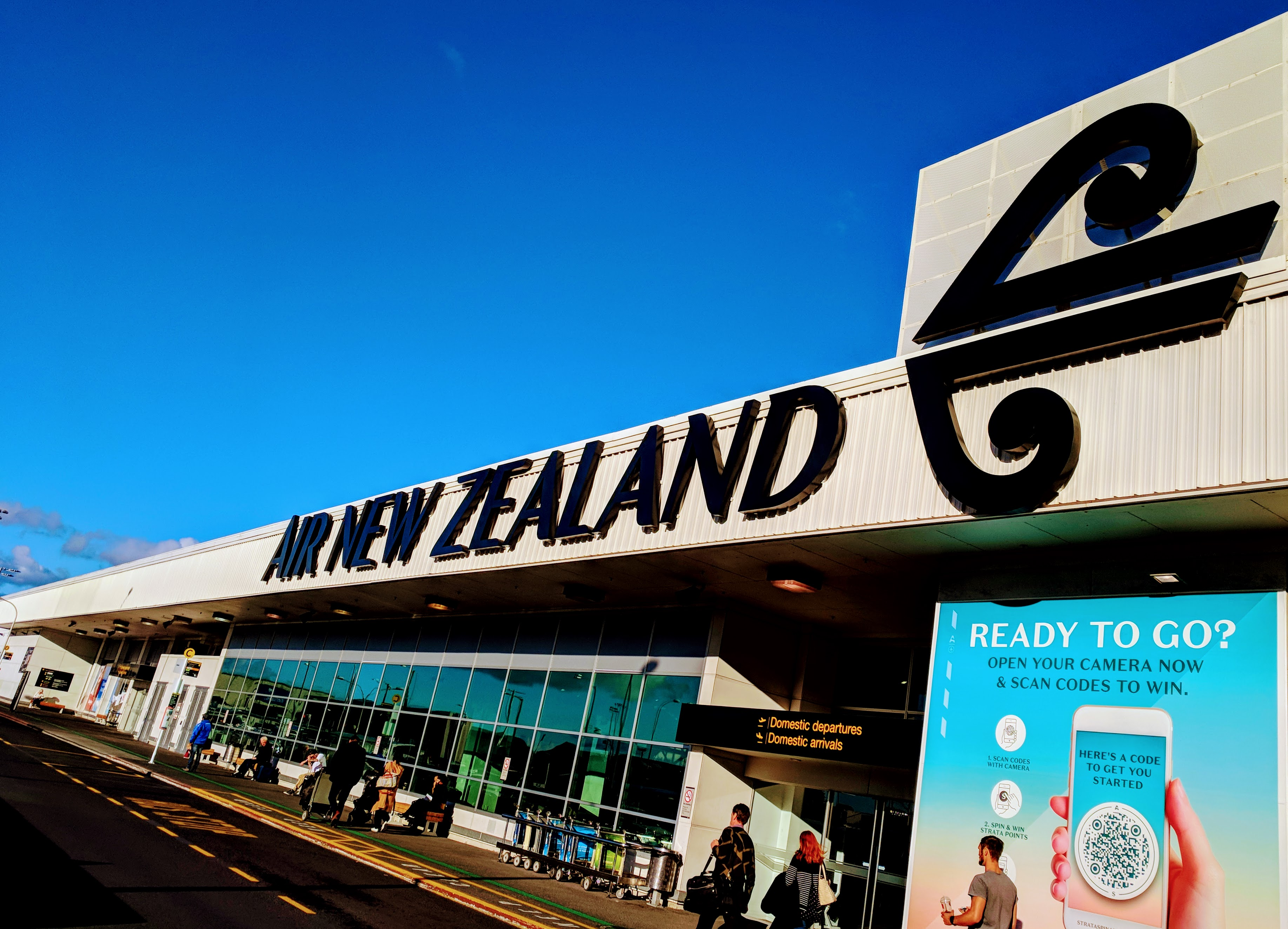 Air NZ domestic terminal entrance at Auckland Airport