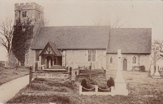 St Margaret's Church, Ridge Photographer unknown. Postcard from the Peter Miller collection