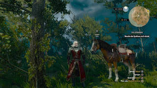 Geralt from Witcher 3 standing beside his horse.