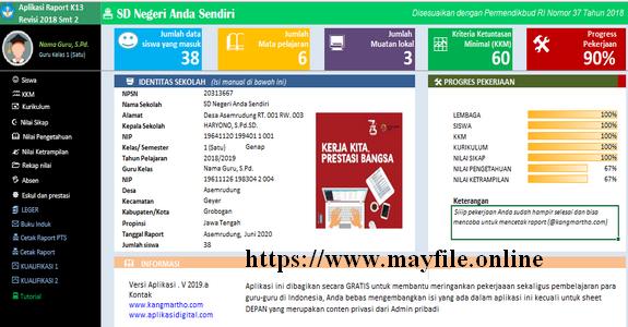 Aplikasi Proses Cetak Raport K13 Kelas 1,2,3,4,5,6 SD/MI Semester 2