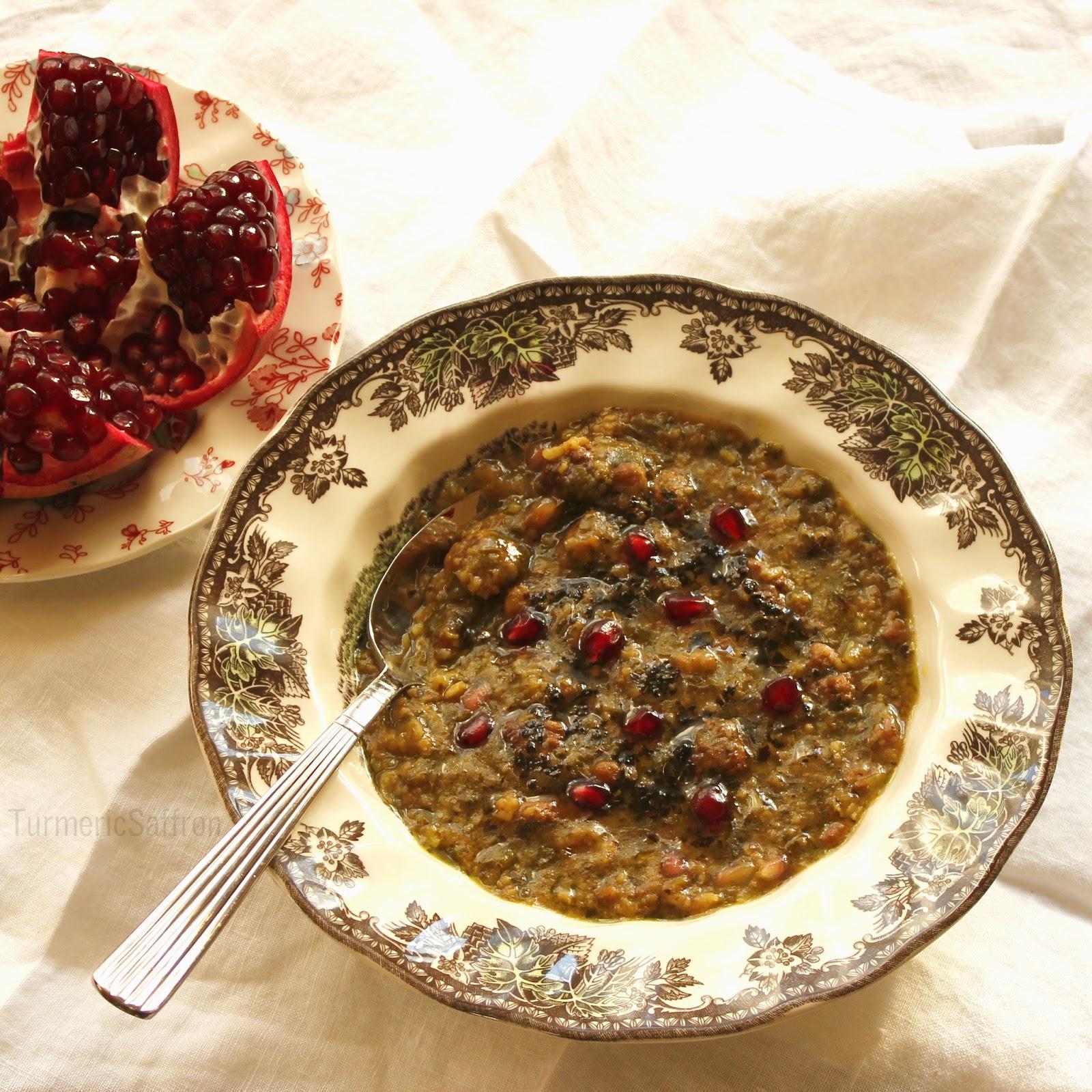 Turmeric & Saffron: Ash-e Anar - Persian Pomegranate Soup ... Persian Pomegranate Soup