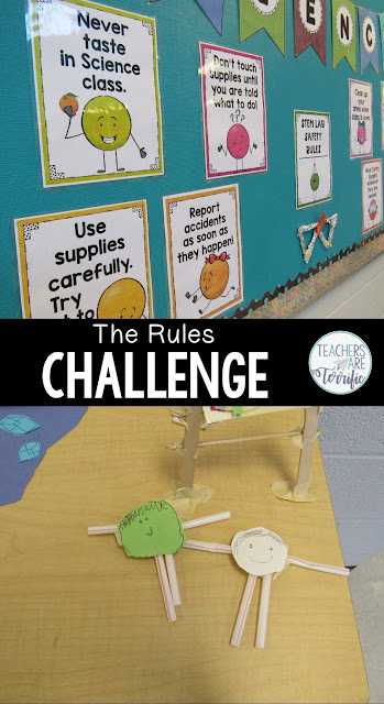 What a fabulous Back to School Challenge this one turned out to be! To help students become familiar with our STEM classroom rules we designed a challenge using those rules! In this challenge, students will have some easy materials to use in designing a model of one of your classroom rules. Each group chooses a rule and then plans together to show the rule in action and then teach it to the rest of the class. #STEM #backtoschool