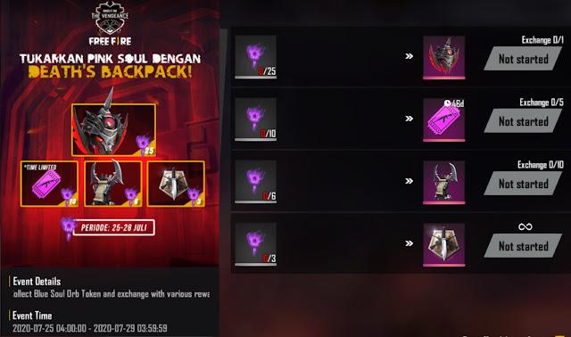 Cara Mendapatkan Token Blue Soul Orb dan Pink Soul Event Vengeance Free Fire