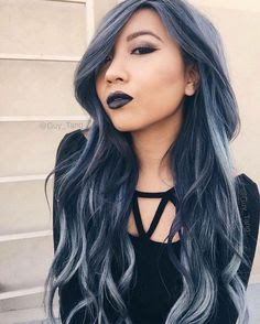 denim hair blue grey trend