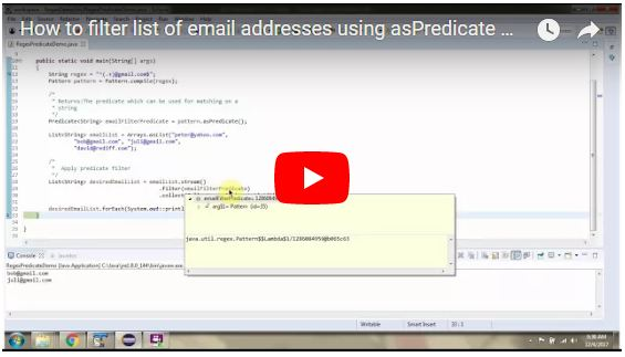 JAVA EE How To Filter List Of Email Addresses Using AsPredicate Beauteous Java Pattern Compile