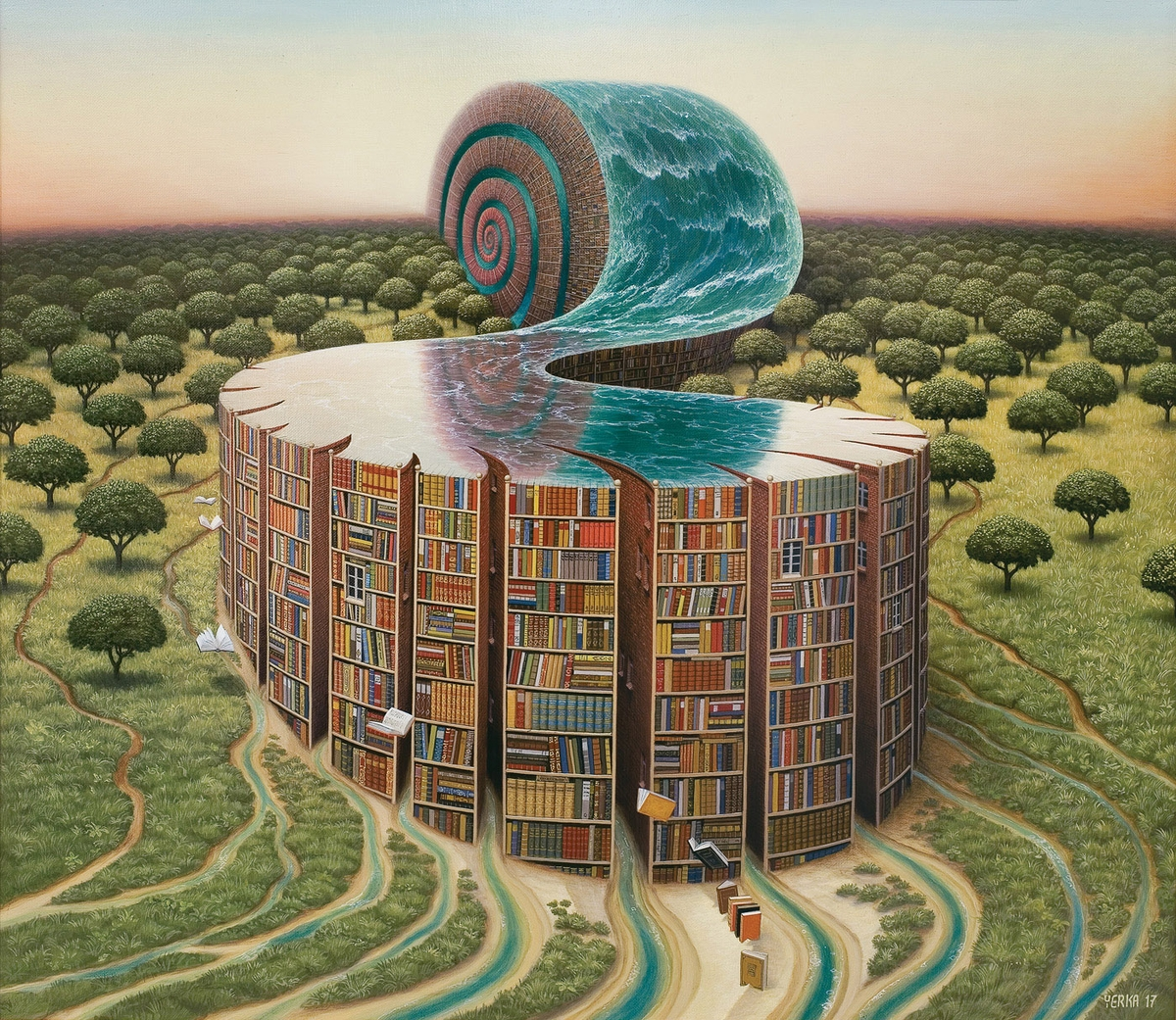 03-Library-Ammonite-Jacek-Yerka-Surrealism-in-Dreamlike-Oil-Paintings-www-designstack-co