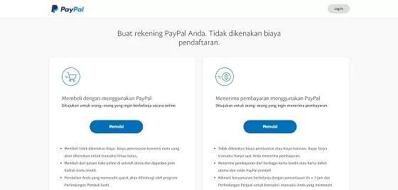 Pilih jenis akun saat membuat PayPal