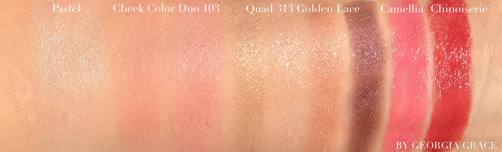 cle de peau luminizing face enhancer pastel concealer golden lace cheek duo 103 intensifying eyeliner swatches photos review