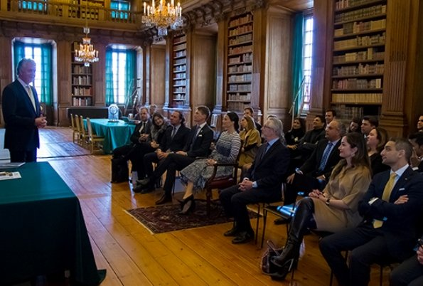 "Princess Sofia Hellqvist attended a briefing on ""Global Child Forum"" held at the Bernadotte Library of Stockholm Royal Palace with Young Presidents' Organization"