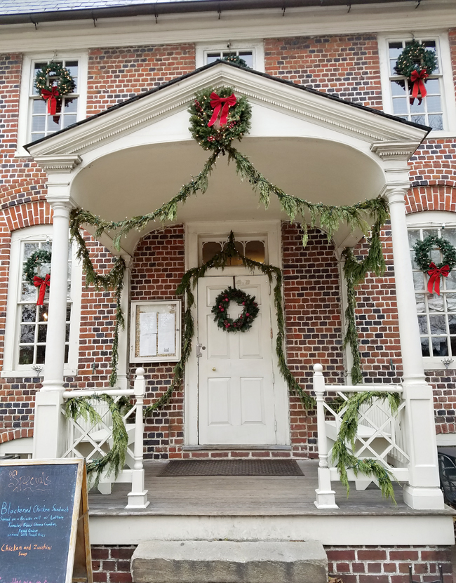 Reynolds tavern front porch during Christmas
