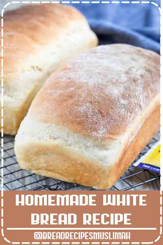 This EASY White Bread is made from scratch. It makes two loaves and is the perfect sandwich bread! Making homemade bread is easier than you think. #Bread #Recipes #homemade #white