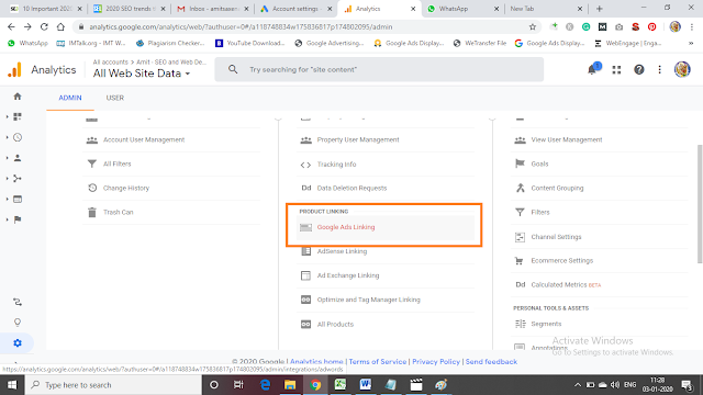 Linking with Adwords and Analytics