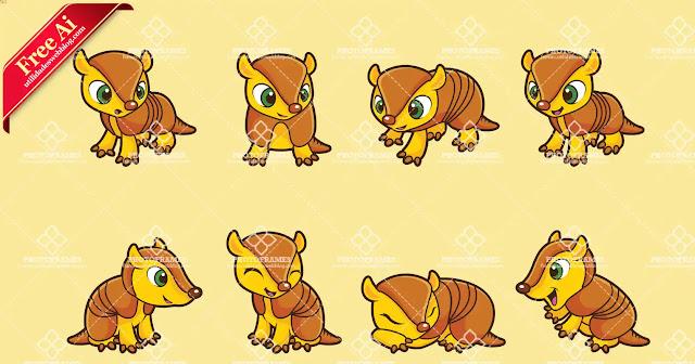 Set de vectores de armadillos bebé