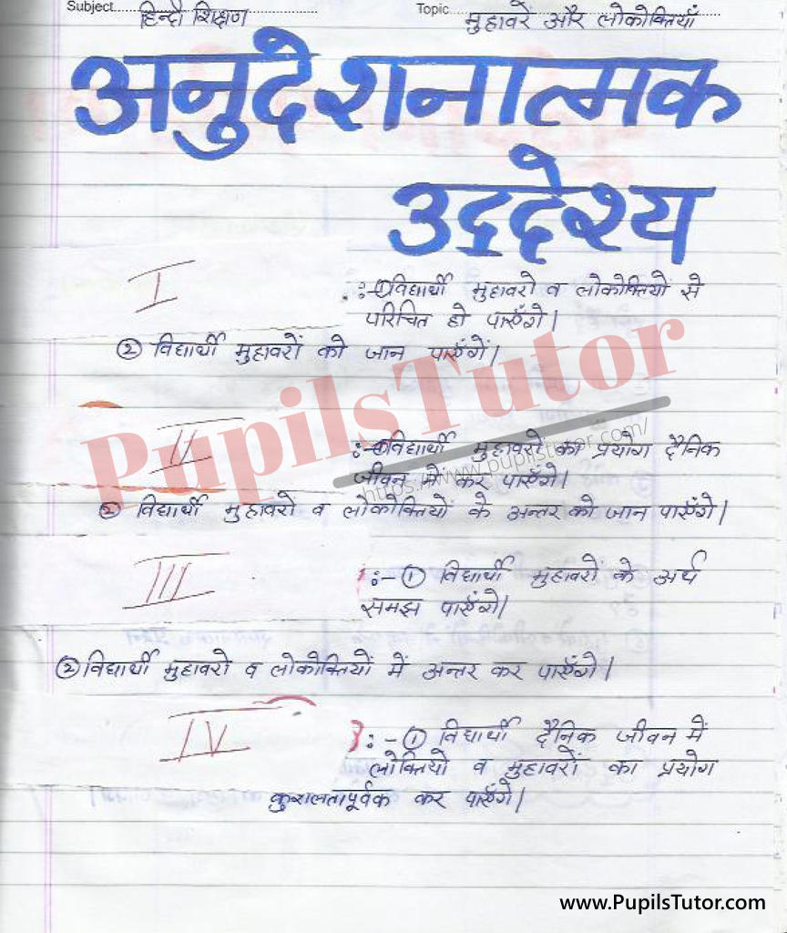 Muhavare Lokoktiya Lesson Plan in Hindi for B.Ed First Year - Second Year - DE.LE.D - DED - M.Ed - NIOS - BTC - BSTC - CBSE - NCERT Download PDF for FREE