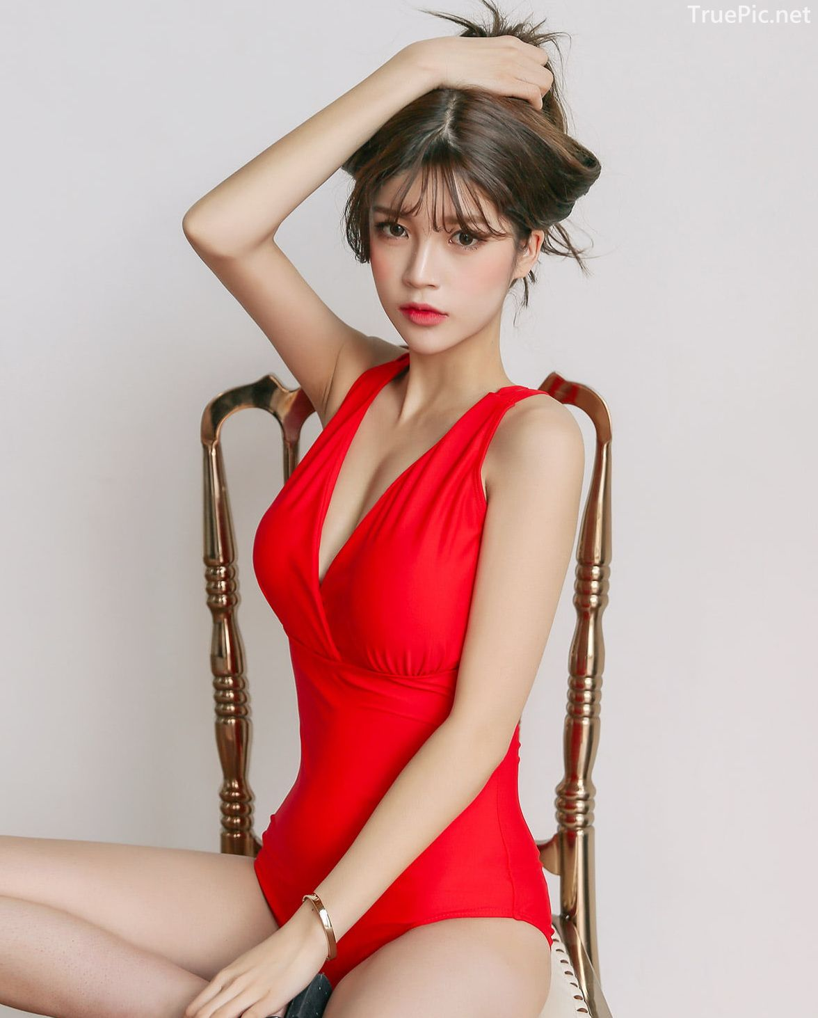Korean model fashion - Cha Yoo Jin - Red Back Strap One - Piece Swimwear