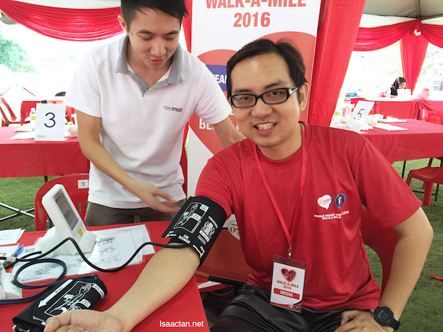 I took the opportunity to get my blood pressure checked at the free health screening section
