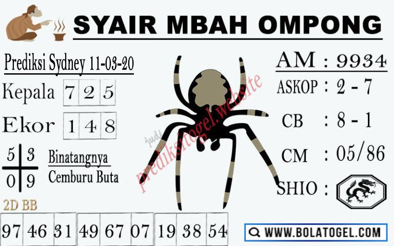 Prediksi Togel Sidney Rabu 11 Maret 2020 - Syair Mbah Ompong