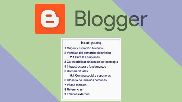 Como crear una Tabla de contenidos en BLOGGER